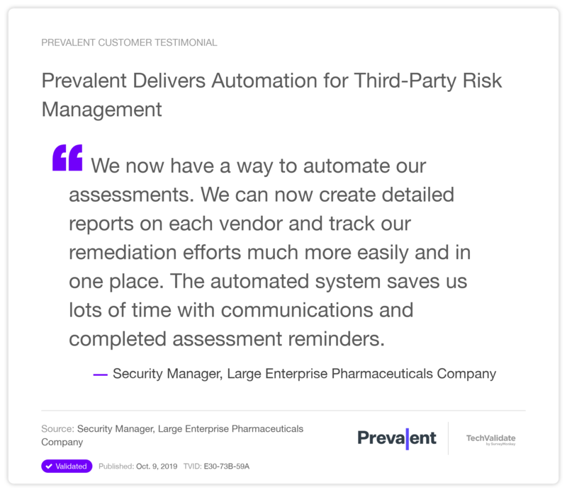 Prevalent Delivers Automation for Third-Party Risk Management